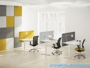 Countertop desk partition / fabric / polyester / soundproofed